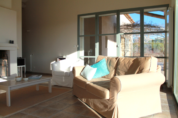 Sun in the morning - and a glass of wine down by the fireplace in the evening, if you like
